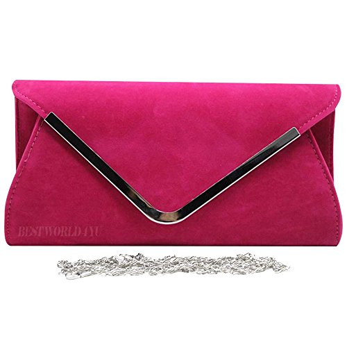 Pink Hardcase Bag Clutch Hand Womens Trim Fuschia Party Wocharm Silver Faux Envelope Shoulder Suede wUOHxqRZg