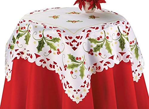 Holly Christmas Linens Square Polyester