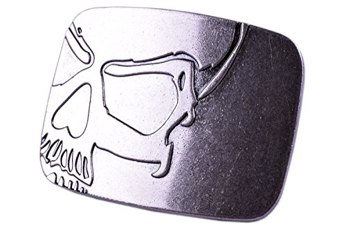 Belt Buckles Cowboy Western Accessories Cool Silver Skull Rectangular Design (Custom Pewter Belt Buckles)