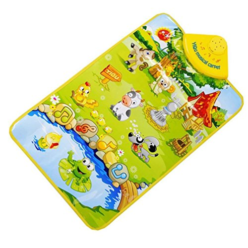 ColorMixs Intelligence Toys Farm Animal Musical Carpet Touch Play Singing Musical Gym For Baby Toy (Farm Mat) - Musical Mat