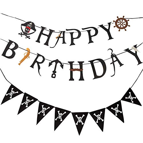 Pirate Banner,Pirate Birthday Party Supplies Decorations,Pirate Pennant Birthday Banner, Suitable for Kids, Adults, Girls, Boys -