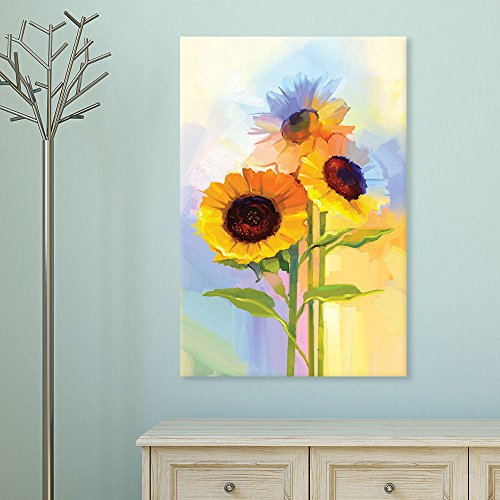 wall26 Canvas Wall Art - Oil Painting Style Sunflowers - Giclee Print Gallery Wrap Modern Home Decor Ready to Hang - 16x24 inches