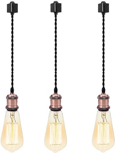 Pearl Black Finish Lamp Holder Fitting Track Light Kit Kiven 1-Light H System Track Mini Pendant LED Bulb Included. Rose Pendant Braided Fabric Flex Cord Length 11.81 in