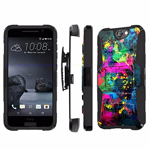 , [NakedShield] [Black/Black] Heavy Duty Holster Armor Tough Case - [Street Paint] for Htc One A9 Aero ()