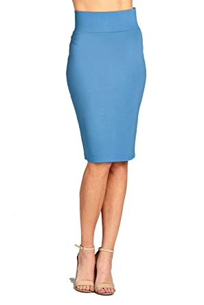 f667238073 YourStyle Stretch Bodycon Ponte Pencil Skirt (Small, 2180-Blue Shadow)