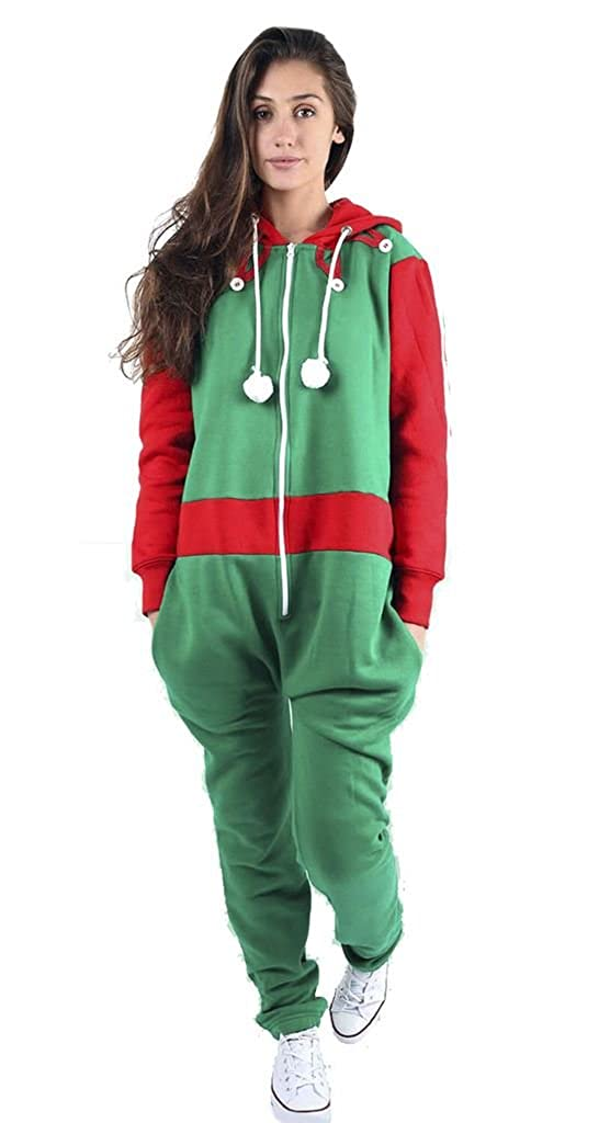 6f4231a1b1b3 Unisex Mens Womens Ladies Xmas Christmas Elf Santa Jumpsuit Onesie Hoodies  Playsuit  Amazon.co.uk  Clothing