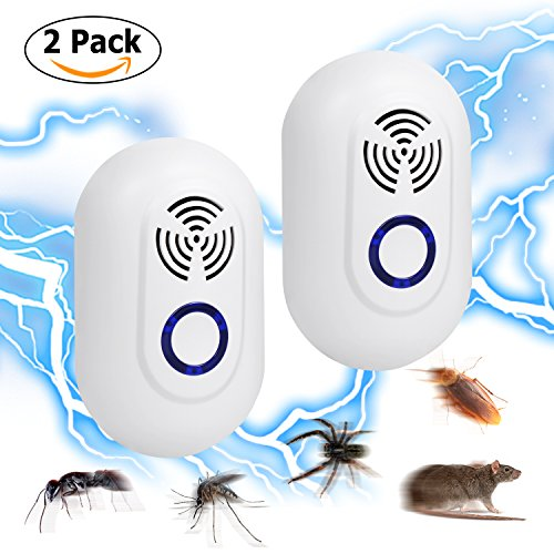 Ultrasonic Pest Repeller[2-Pack], Roseny Electronic Pest Control Repellent Plug in for Mosquitos, Insects, Bugs, Rodents, Mice, Spiders, Ants and More