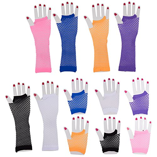 Blue Panda Fingerless Fishnet Neon Stretchable Gloves - 12-Pack 6 Colors for 80s Party