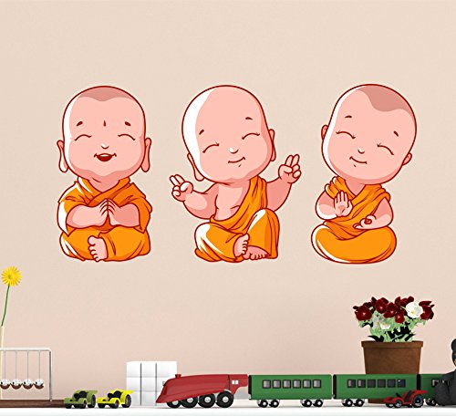 Decals Design 'Buddha Design Three Baby Monk PVC Wall Sticker' (PVC Vinyl, 60X45cm, Multicolor)