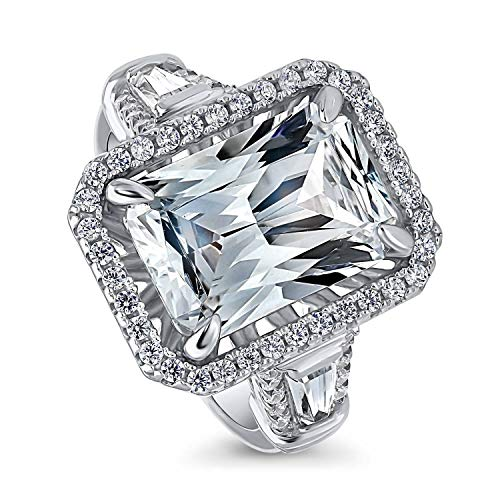 BERRICLE Rhodium Plated Sterling Silver Radiant Cut Cubic Zirconia CZ Statement Halo Engagement Ring 8.56 CTW Size 6