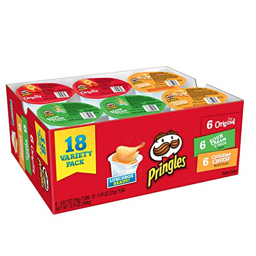 (Pringles Snack Stacks Potato Crisps Chips, Flavored Variety Pack, Original, Cheddar Cheese, and Sour Cream and Onion, 12.9 oz (18)