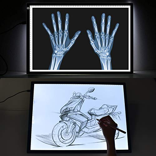 A3 Light Box KENTING LED Artcraft Tracing Light Pad USB Power Cable Dimmable Brightness Tatoo Pad Copy Board Aniamtion Sketching Designing Stencilling X-ray Viewing Diamond Painting