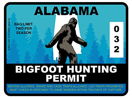 Bigfoot Hunting Permit - ALABAMA (Bumper Sticker)