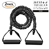 Soeenaper 2 Pack Resistance Bands Handles & Workout Guide 35Lbs Latex Resistance Bands Home Workouts Resistance Training Boxing Training Physical Therapy