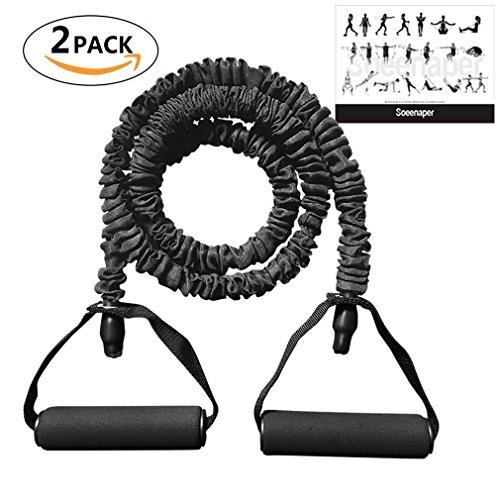 Soeenaper 2 Pack Resistance Bands Handles & Workout Guide 35
