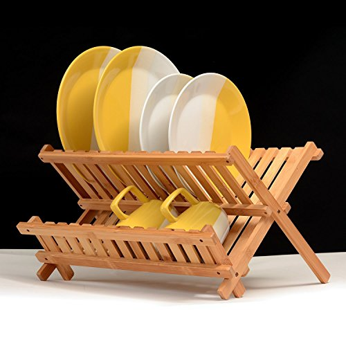Dish Drying Rack Bamboo Dish Rack Collapsible Dish Drainer, Foldable dish drying rack Wooden Plate Rack Made of 100% Natural Bamboo, By: Bambüsi by Bambüsi (Image #5)