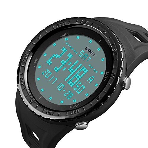 Men's Double Time Digital Sport Watch Thin Military Army Large Face Dial LED Outdoor Electronic Wrist Watches Waterproof Fashion Casual Tactical Stopwatch Black