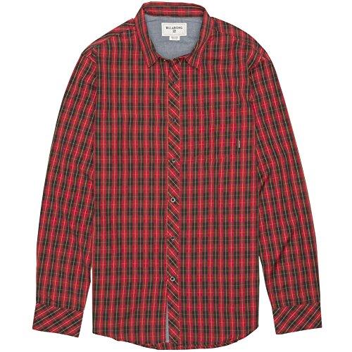 (Billabong Men's Riviera Long Sleeve Woven Shirt, Red, Medium)