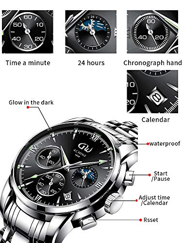 ACHINE Men's Watches Waterproof Modern Fashion Minimalist Casual Stainless Steel Watches for Men 41mm Quartz Analog Sport Chronograph Watch with Auto Date