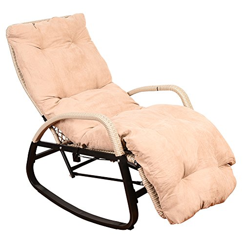 Sundale Outdoor Indoor Wicker Rattan Rocking Chair with Cushion Zero Gravity Lounge Chair Vintage Recliners with Penumatic Adjustment for Patio, Pool, Deck, Home, Weight Capacity 330 LBS, Beige