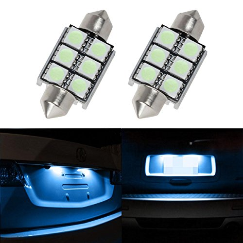 Partsam 2PCS 6-5050-SMD 6418 C5W 36mm Festoon Error Free LED Bulbs for Car Truck Rear License Plate Lights Lamps, Ice Blue (Volvo Truck Lights Accessories compare prices)