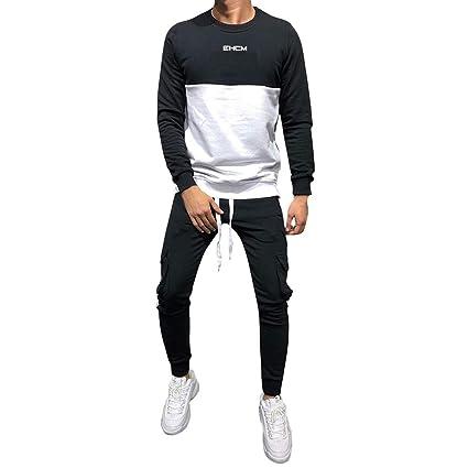 7ede80ee9cae0 Dreamyth-Mens 2Pcs Men Tracksuit Packwork Graduated Slim Long Sleeve  Sweatshirt Top Pants Sets (