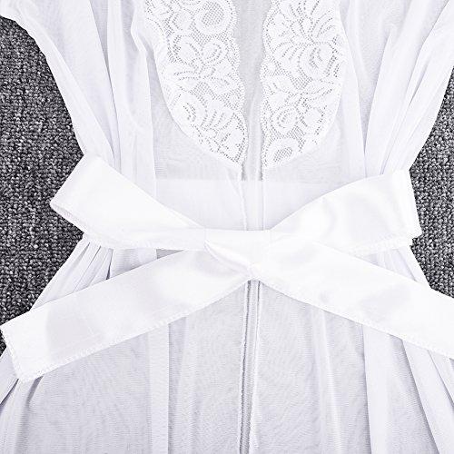 iBaste Damen Spitzen Kimono Negligee Reizwaesche Nachtkleid Nachtmantel Dessous mit G-string Weiß 2 Wco7OlRFVy