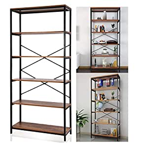 Incroyable Vividy 5 Tier Vintage Style Bookcase Furniture Wood And Steel Frame Open  Wide Bookshelf Tall