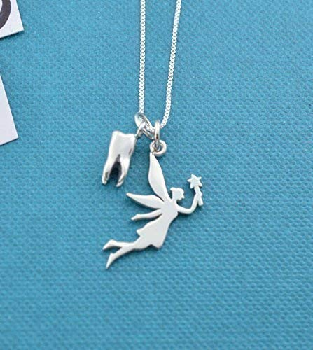 Girl's, teen's or woman's Tooth fairy charm necklace in sterling silver on an 18 inch sterling silver box chain with 2