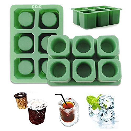 (2 Pack Silicone Ice Shot Glass Mold, 6 Cups Square Green Ice Cube Tray, Jelly Tray, Cake Cup Mold, Food Grade Silicone Ice Shot - Green)