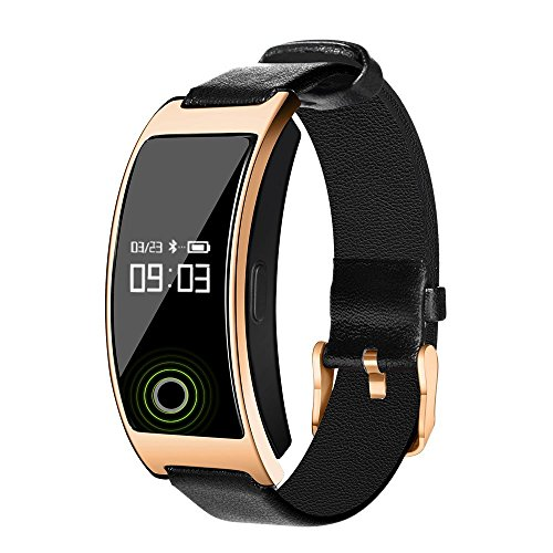 Izefia Best Fitness Tracker CK11S Activity Smart Bracelet Bluetooth OLED Touchscreen and Sleep Heart Rate Monitor Sedentary Alert Step Counter Calorie Counter SMS Calls Reminder Waterproof Sports Pedometer Smart watch for iPhone / iOS / Android / Samsung / Smartphones (Gold)