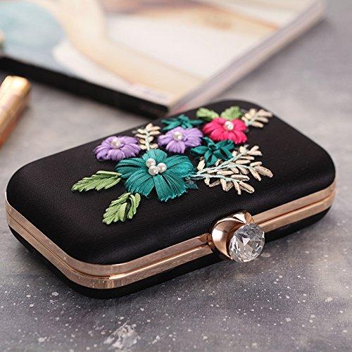 Embroidered Bag Missfiona Flower Womens Stud Clutch Black Evening Mesh Formal Pearl Hardbox WIvqIndB