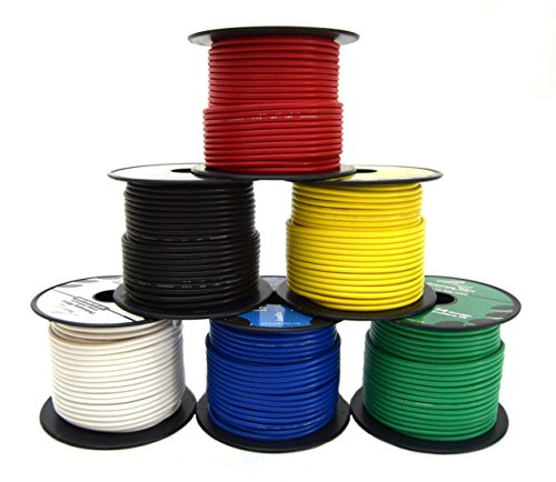 Primary Copper Wire - 14 GA Single Conductor Stranded Remote Wire 6 Rolls Primary Colors 12V 100'FT EA