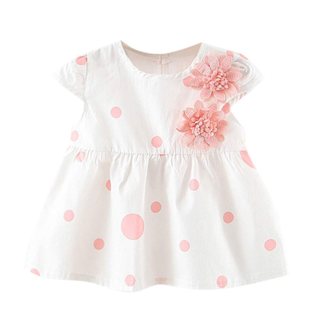 NUWFOR Toddler Baby Kids Girls Dot Flowers Skirt Princess Dresses Casual Clothes(Pink,3-6Months)