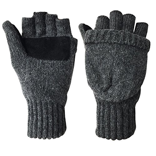 Winter Warm Wool Knitted Convertible Fingerless Gloves With Mitten Cover
