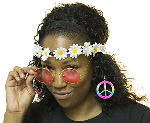 Groovy Hippie Instant Dress Up Kit Includes Headband, Glasses and Earrings (Hippie Dress Up)
