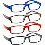 Reading Glasses Best 4 Pack_Blue Tortoise Red Black for Men & Women Have a Stylish Look & Crystal Clear Vision When You Need It! Comfort Spring Arms & Dura-Tight Screws_100% Guarantee +1.50