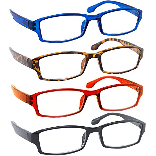 Reading Glasses _ Best 4 Pack_Blue Tortoise Red Black for Men & Women _ Have a Stylish Look & Crystal Clear Vision When You Need It! _ Comfort Spring Arms - Reading Designer Eyewear Glasses