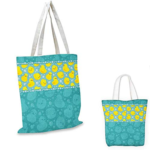 (Rubber Duck thin shopping bag Yellow Cartoon Duckies Swimming in Water Pattern with Fun Bubbles Aqua Colors canvas tote bag Teal Blue. 13
