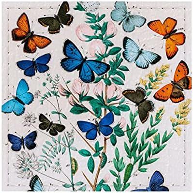 William Forsell Kirby - Posavasos de piel cuadrada reutilizable con almohadilla de cartón para decoración del hogar, regalos para hombres y mujeres