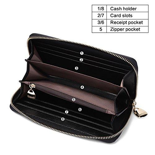 BOSTANTEN Women Leather Wallet Clutch Purses Card Cash Holder Long Wallets Black by BOSTANTEN (Image #2)