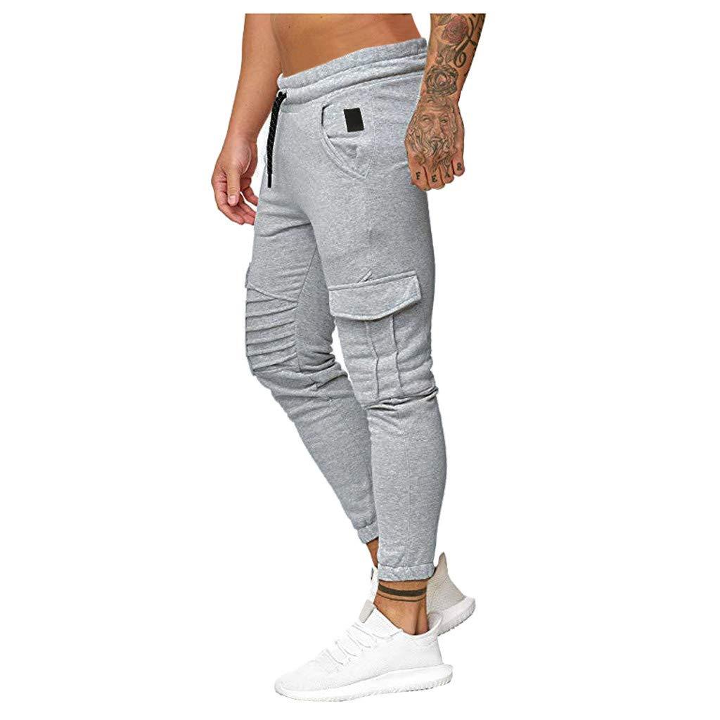 Ginli Moda Uomo Pantalone Jogging Sportivo in Morbido Righe Slim Fit Stretti alla Caviglia Elasticizzati Larghi Lavoro Elegante Invernali Utility