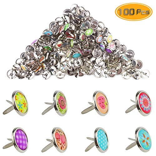 Yexpress 100 Pieces 12mm Mixed Mini Brads Round Paper Fasteners Brass Pastel Metal Brads for Scrapbooking Crafts DIY Paper