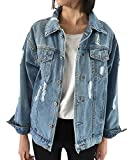 CozzyLife Women's Oversized Denim Jacket Ripped Jean Boyfriend Long Sleeve Coats (XXL)