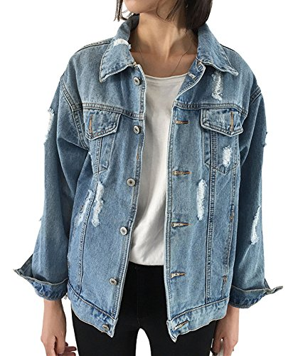 CozzyLife Women's Oversized Denim Jacket Ripped Jean Boyfriend Long Sleeve - Denim Oversized
