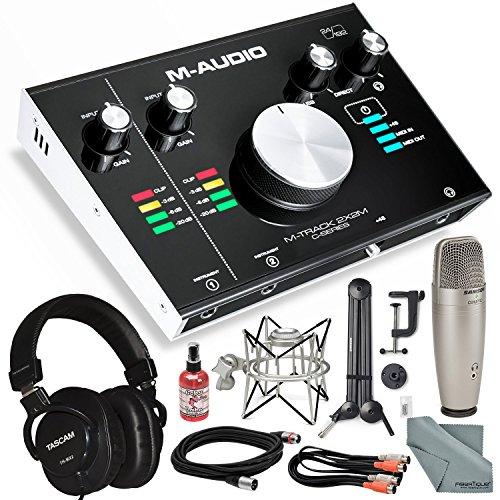 "M-Audio M-Track 2X2M USB Audio Interface with MIDI I/O and Platinum Studio Bundle w/Studio Condenser Mic + Mixing Headphones + 28"" Mic Boom Arm+ Shock Mount + More from Photo Savings"
