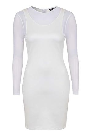 Topshop Long Sleeve Mesh Bodycon Stretchy Dress White (UK 8)