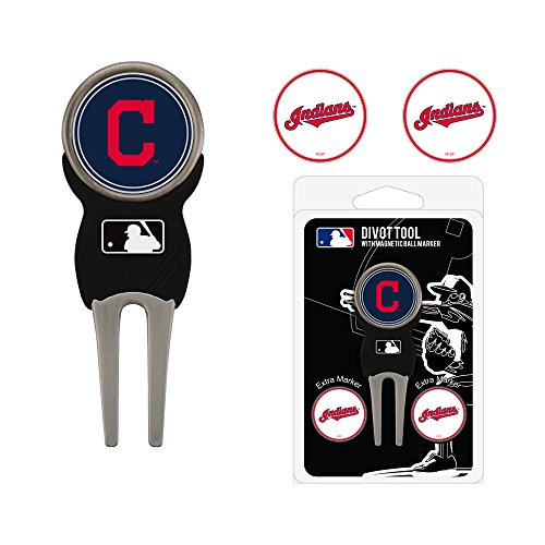 (Team Golf MLB Cleveland Indians Divot Tool with 3 Golf Ball Markers Pack, Markers are Removable Magnetic Double-Sided Enamel)