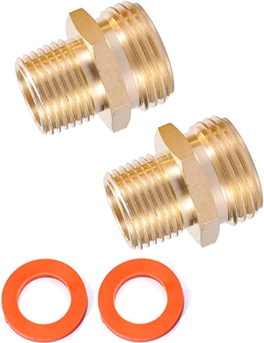 """Kbrotech 3/4""""GHT Male x 1/2""""NPT Male Connector,Brass Garden Hose Adapter,Brass Garden Hose to Pipe NPT Fitting Connect,Double Male Thread Size GHT 3/4 x 1/2 NPT 2pcs (3/4""""GHT Male x 1/2""""NPT Male)"""