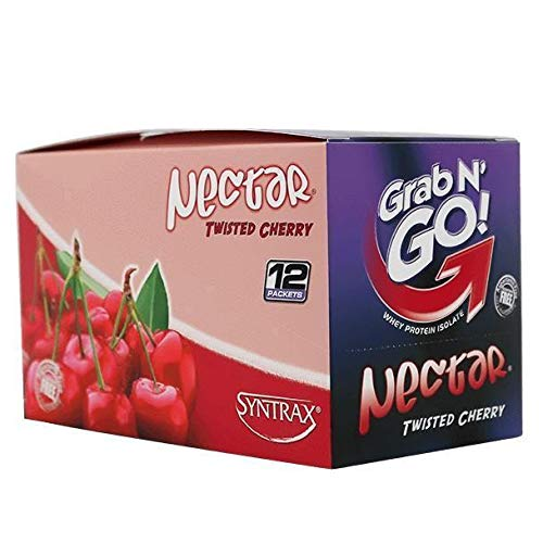 Syntrax - Nectar - Grab N Go - Twisted Cherry - 12 Individual Servings - High Protein 23g - Zero Carbs - Zero Fat - Lactose & Gluten Free